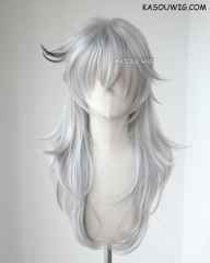 Fate Apocrypha Saber of Black Siegfried medium layered light gray cosplay wig with black streaks KA003