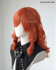 Fire Emblem Echoes Shadows of Valentia Celica medium orange curly wig with short bangs 55cm