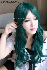 Sailor Moon Michiru Kaiou Sailor Neptune dark green 70 cm long curly body wave cosplay wig . lolita wig