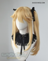 Kakegurui Saotome Mary yellow blonde pigtails cosplay wig with black ribbons