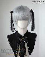 Kakegurui Momobami Kirari light gray cosplay wig pre-teid knotted braids with black ribbons