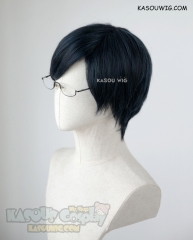 My Hero Academia Iida Tenya short black blue cosplay wig