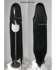 "Houseki no Kuni Bortz 150cm / 59"" long straight versatile jet black cosplay wig. KA032"