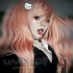 "90cm / 35.5"" Danganronpa Junko Enoshima long coral pink cosplay wig with 2 clip on layers fluffy ponytails. SP22"