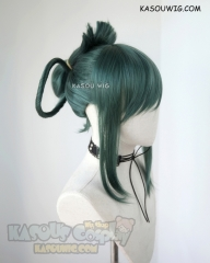 My Hero Academia Tsuyu Asui green cosplay wig with bun