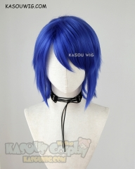 Kingdom Hearts Aqua short side-parted royal blue cosplay wig. KA050