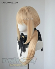 Violet Evergarden blonde ponytail wig with black ribbon. 75cm