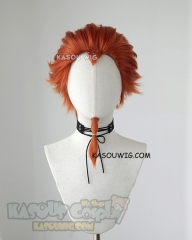 Danganronpa Kuwata Leon reddish orange slicked back spiky cosplay wig