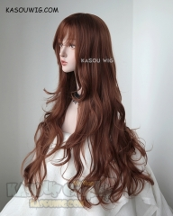 L-3 / KA026 Walnut Brown long layers loose waves cosplay wig . heat-resistant fiber