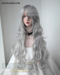 L-3 / KA003 light gray  long layers loose waves cosplay wig . heat-resistant fiber