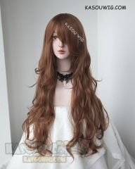 L-3 / KA024 light brown long layers loose waves cosplay wig . heat-resistant fiber