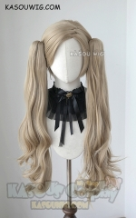 [  Newly Designed ] Persona 5 Takamaki Anne beige blonde clip on wavy pigtails. SP11