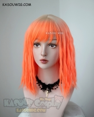 Leeloo Dallas neon orange dreadlocks cosplay wig with blonde roots