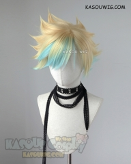 League of Legends Star Guardian Ezreal spiky yellow blue ombre wig
