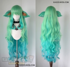 League of Legends Star Guardian Soraka 120cm long wavy green ombre wig with ears
