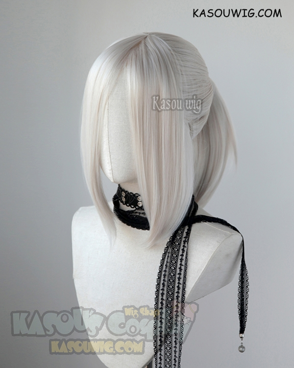 S 3 Sp05 Pearl White Ponytail Base Wig With Long Bangs