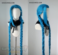 League of Legends Jinx 120cm long blue twin braids cosplay wig