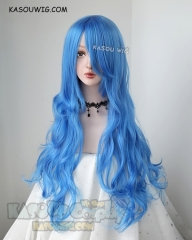 L-3 / KA048 dodger blue long layers loose waves cosplay wig . heat-resistant fiber