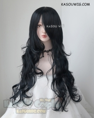 L-3 / KA052 black blue long layers loose waves cosplay wig . heat-resistant fiber