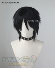 Angels of Death Zack layered spiky black cosplay wig