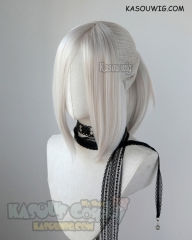 S-3 / SP05 Pearl White ponytail base wig with long bangs.
