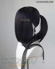 S-3 / SP31 deep purple ponytail base wig with long bangs.