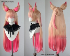 League of Legends Star Guardian Ahri 90cm long straight blonde pink ombre wig with ears