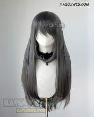 L-2 / KA005 steel gray 75cm long straight wig . Heating Resistant fiber