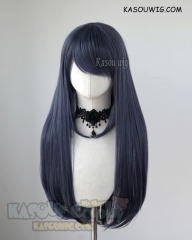L-2 / SP03 deep blue 75cm long straight wig . Heating Resistant fiber