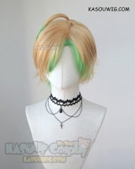 Hypnosis Mic Matenrou Hifumi Izanami short side parted blonde cosplay wig with highlighted green