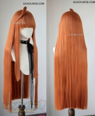 Persona 5 Sakura Futaba orange 100cm long straight wig with blunt bangs