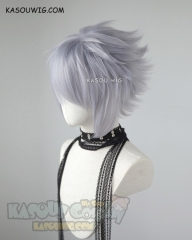 Kingdom Hearts III Riku short layered fluffy silver Lavender cosplay wig