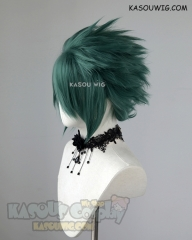 "S-5  KA065 31cm / 12.2"" short dark olive green spiky layered cosplay wig"