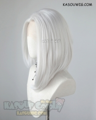 Lace Front>>> Overwatch Ashe silver white side-parted asymmetric bob shoulder-length cosplay wig