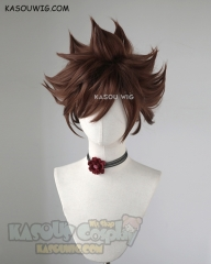 Kingdom Hearts III Sora short coffee brown spiky cosplay wig