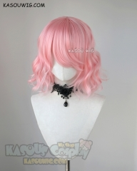 S-4 / KA033 light pink loose beach waves lolita . harajuku wig with bangs .35cm .