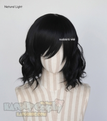 S-4 / KA032 jet black loose beach waves lolita . harajuku wig with bangs .35cm .