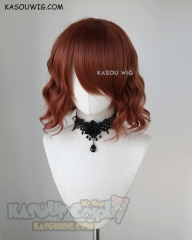 S-4 / KA044 auburn red loose beach waves lolita . harajuku wig with bangs .35cm .