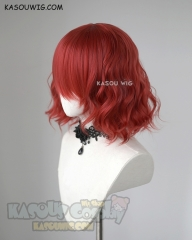 S-4 / KA042 apple red loose beach waves lolita . harajuku wig with bangs .35cm .