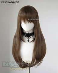 L-2 / KA025 Raw Umber brown 75cm long straight wig . Heating Resistant fiber