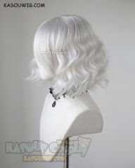 S-4 / KA002 silver white loose beach waves lolita . harajuku wig with bangs .35cm .