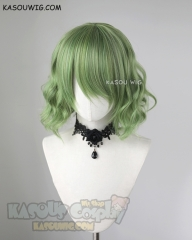 S-4 / KA061 moss green loose beach waves lolita . harajuku wig with bangs .35cm .