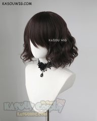 S-4 / KA030 deep brown loose beach waves lolita . harajuku wig with bangs .35cm .