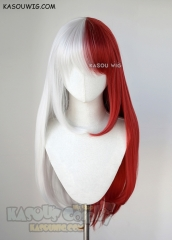 My Hero Academia genderbend female Shouto Todoroki white red split 75cm long straight wig