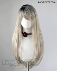 League of Legends KDA Ahri grayish blonde with black roots 75cm long straight wig