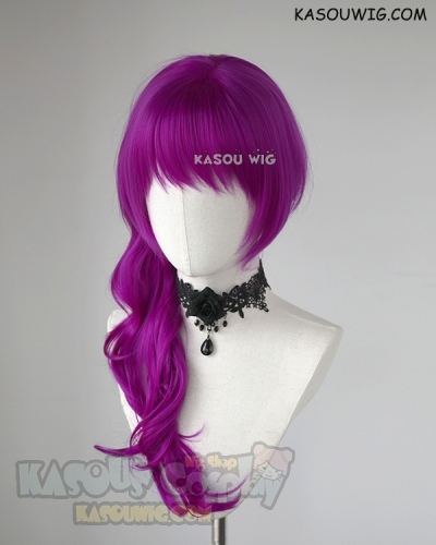 League of Legends KDA Evelynn Red Violet Purple 70CM long curly wig