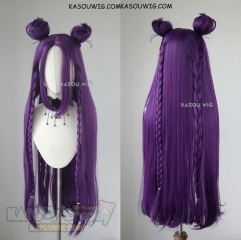 League of Legends KDA Kaisa 90CM long straight purple wig with braids and buns