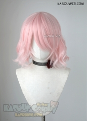 S-4 / SP34 short pale pink loose beach waves lolita . harajuku wig with bangs .35cm .