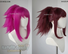 [2 Colors] League of Legends KDA Akali wine red &neon pink spiky ponytail wig