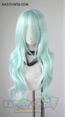 L-3 / SP16 pastel mint green long layers loose waves cosplay wig . heat-resistant fiber